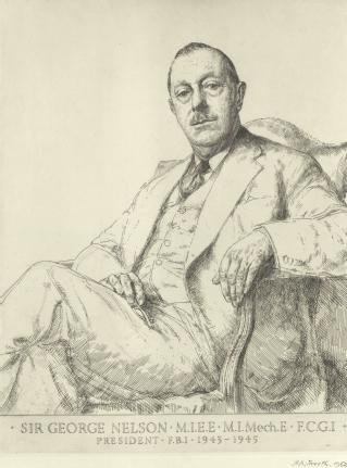 Portrait of Sir George Nelson by H Andrew Freeth, 1952 (© Martin, Tony and Richard Freeth) (Federation of British industry archive: MSS.200/F/3/S2/6/10)