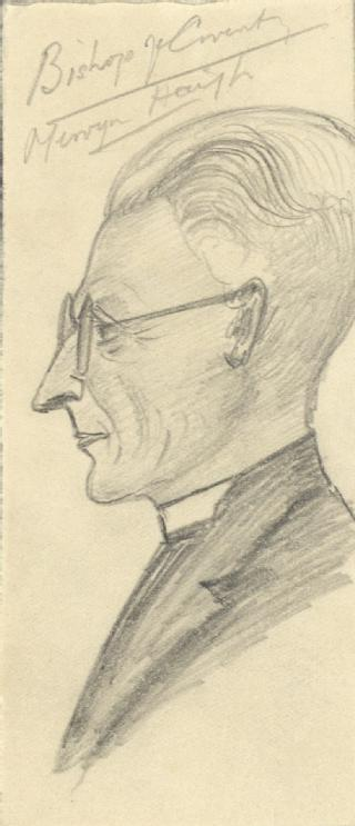 Sketch by A P Young  of Mervyn Haigh, Bishop of Coventry (MSS.242/MI/8iv)
