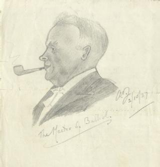 Sketch by A P Young of A.D. Lindsay, Master of Balliol College, Oxford, 1937 (MSS.242/MI/8ix)