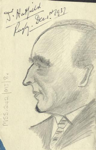 Sketch by A P Young of J Hatfield, 1937 (MSS.242/MI/8v)