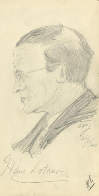 Sketch by A P Young of Hans Lothar, 1940 (part of MSS.242/MI/8x)