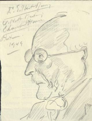 Sketch by A P Young of Gilbert Murray, classical scholar (MSS.242/MI/8xii)