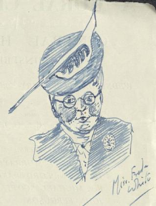Sketch by A P Young of Miss Freda White, 1952 (part of MSS.242/MI/8xvii)