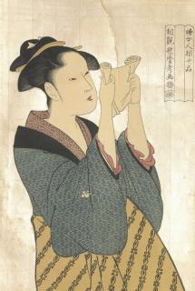 Print of 'A beauty reading a letter', pen and ink drawing by Japanese artitst Kitagawa Utamaro, c1792 (Shipping Federation archive: MSS.367/TSF/7/DR/6)