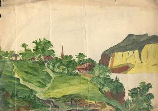 Painting of landscape by W H Stokes (in MSS.289/14/3)