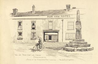 Drawing by Frank Patterson of the Dun Cow Hotel and the cross,  Dunchurch  (Cyclists' Touring Club archive: MSS.328/C/12/6/5/33)