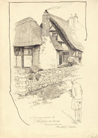 Drawing by Frank Patterson of chimney corner at Welford-on-Avon (Cyclists' Touring Club archive: MSS.328/C/12/6/5/33)
