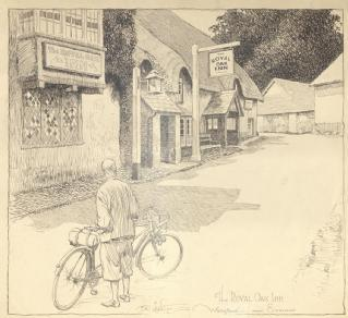 Drawing by Frank Patterson of the Royal Oak Inn, Winsford, Somerset, 1930 (Cyclists' Touring Club archive: MSS.328/C/12/6/5/40)