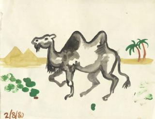 Anonymous painting of camel, 1980 (Jack Jones papers: in 625/4/18)