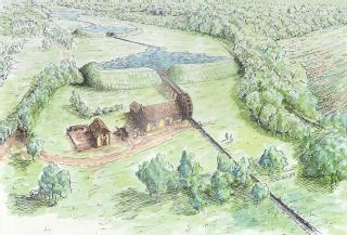 Drawing by M D Wilson of  former farmhouse and water mill on land now owned by the University of Warwick, 1997 (University of Warwick archive: UWA/HILL/3)