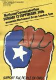 Chile Solidarity Campaign advertising material for their demonstration in 1976