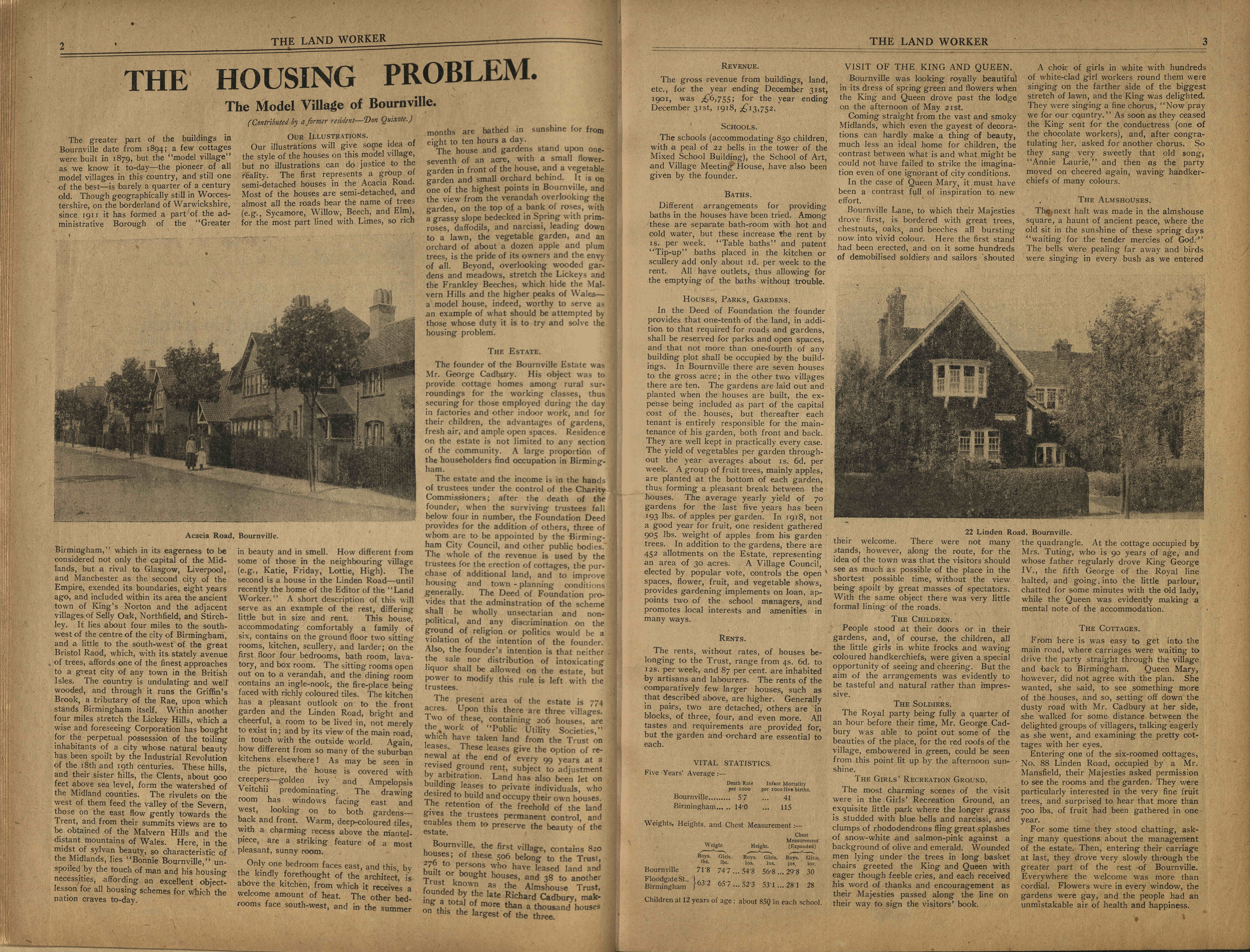 1919: 'The housing problem: The model village of Bournville'