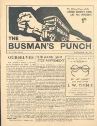 First issue of 'The Busman's Punch' (New Series), 4 November 1932, newspaper of the London Busmen's Rank and File Movement