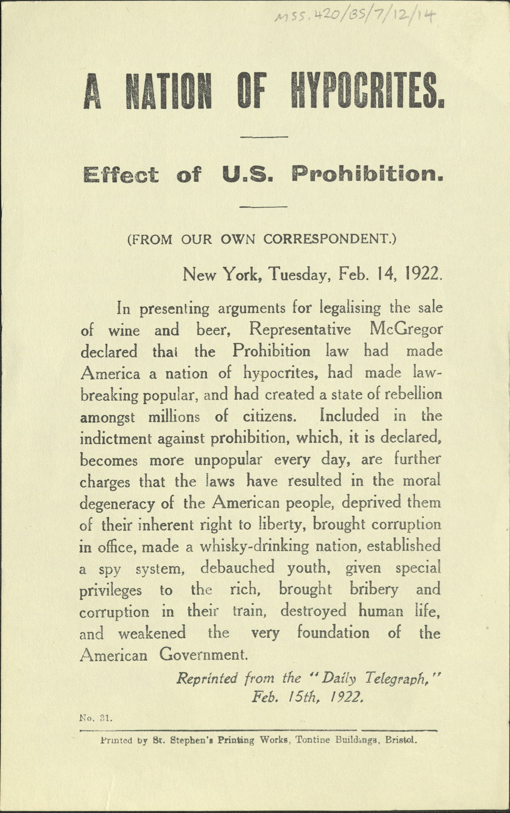 An essay on the prohibition and its effect in the united states between 1920 and 1933