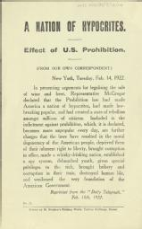 A nation of hypocrites. Effect of US prohibition [MSS.420/BS/7/12/14]