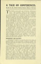 A talk on conferences by the Rt. Rev. Herbert Hensley Henson, Bishop of Durham [MSS.420/BS/7/12/30]