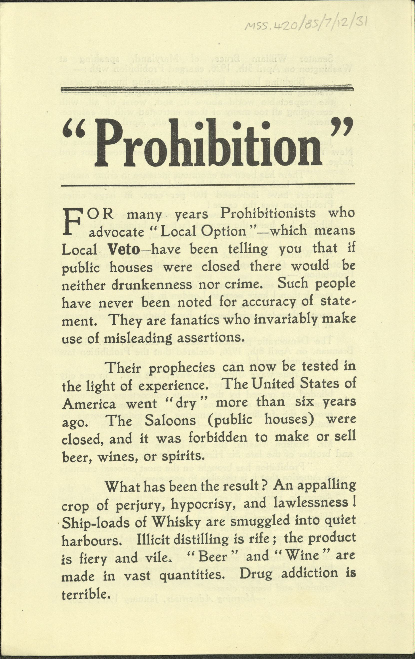 an essay on the prohibition and its effect in the united states between 1920 and 1933 National prohibition of alcohol between 1920 and 1933 was united states and alcohol essay the effects of prohibition: prohibition in the united states and.