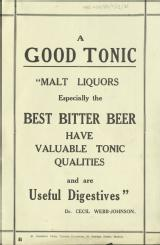A good tonic. Malt liquors especially the best bitter beer have valuable tonic qualities and are useful digestives [MSS.420/BS/7/12/35]