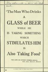 The man who drinks a glass of beer while he is taking something which stimulates him is also taking food [MSS.420/BS/7/12/36]