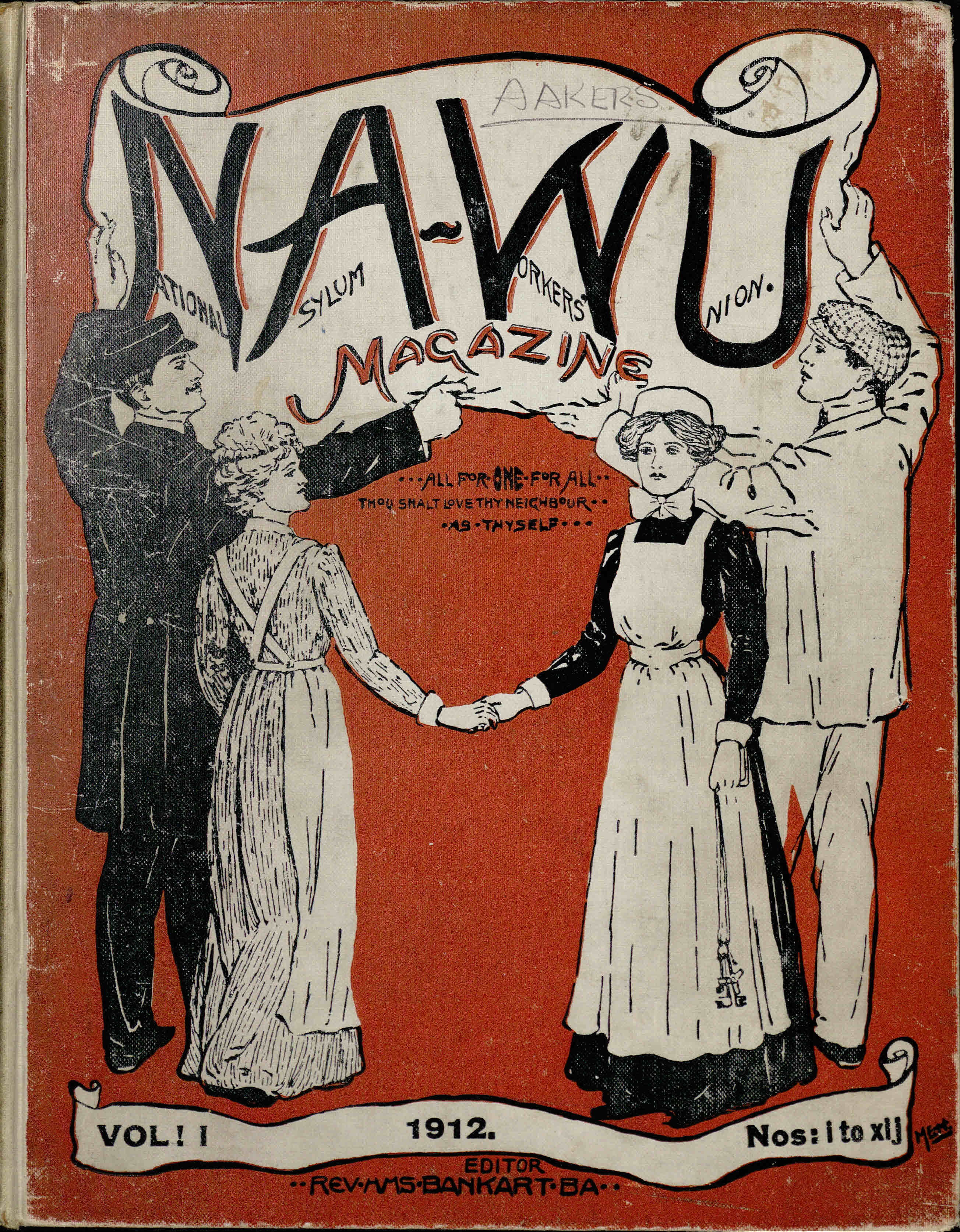 Front cover of the National Asylum Workers Union magazine, 1912