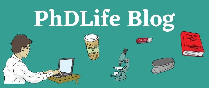 PhD Life image with cartoon of student, coffee cup, microscope, USB stick, book, stapler