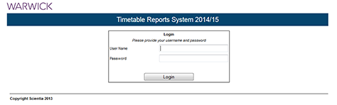 Screenshot of the Timetable reports