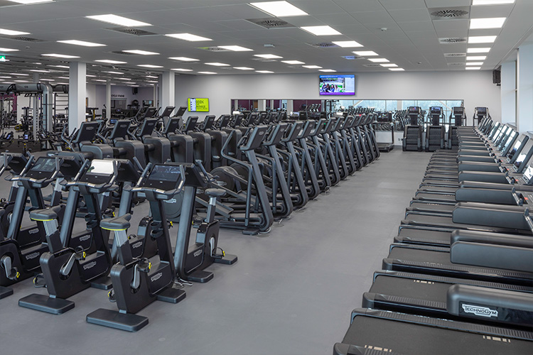 Large gym area with plentiful equipment