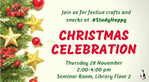 Join us for festive crafts and snacks at #StudyHappy Christmas Celebration