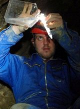 Sampling at Movile Cave