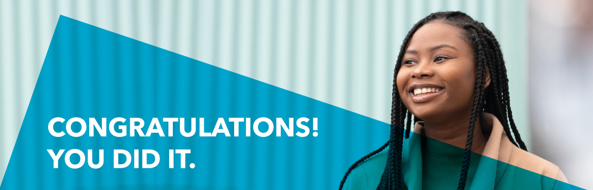 "PG Offerholders banner image with words ""Congratulations. You did it!"""