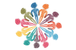 colourful stick figures in a circle