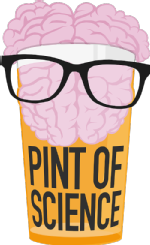 Pint of Science logo - Brain in a pint glass